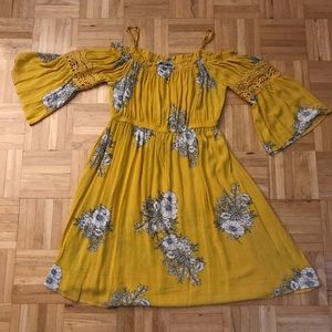 Yellow floral peasant styled dress